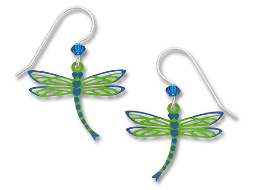 Filigree Green Dragonfly w/Blue Wing Tips