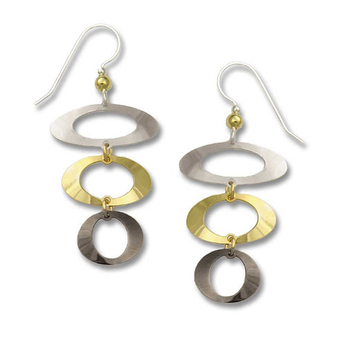 3 Open ovals in silver, gold and hematite tones