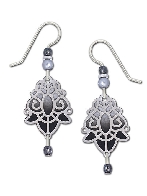 Art Deco in IR over Black and White Backer with Dangle