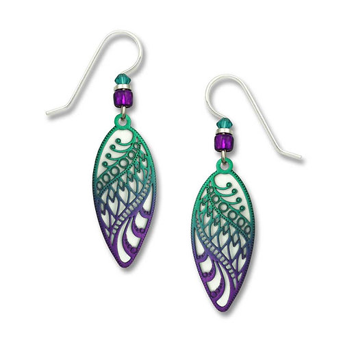 Turquoise & violet ombre filigree almond shape over white
