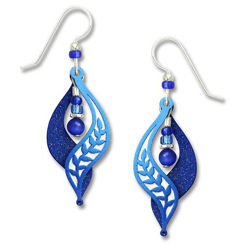 Deep royal blue leaf motif split curve with bead drop