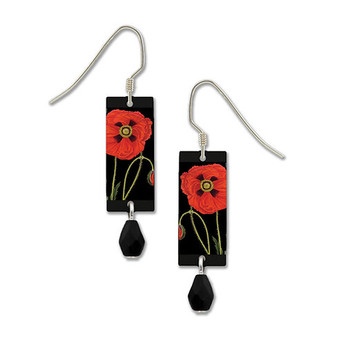 Red poppy on black rectangle