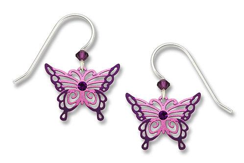 Purple & Pink Filigree Butterfly w/Crystal