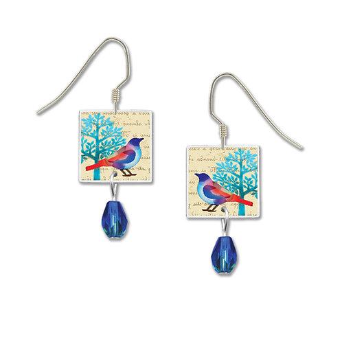 blue tree with bird