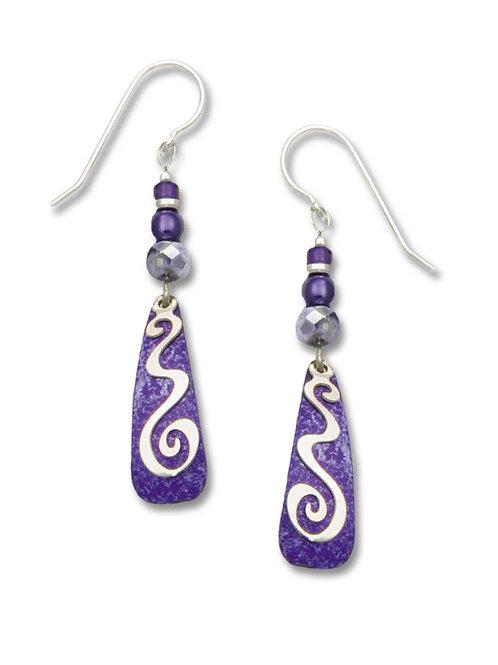 Grape-Purple Teardrop w/Silvertone Overlay & Beads