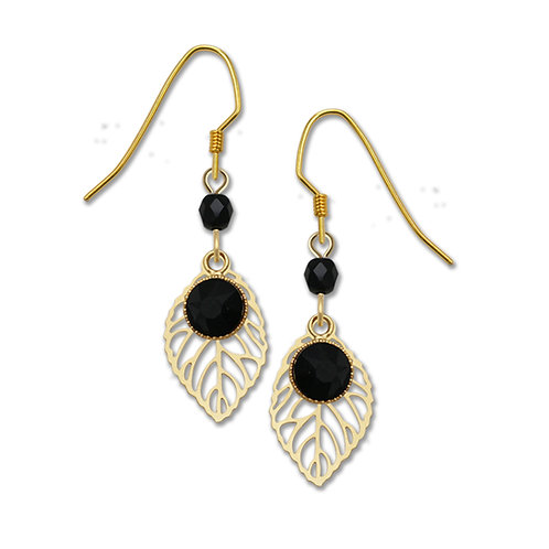 Gold Plated Leaf W/Black Dangle