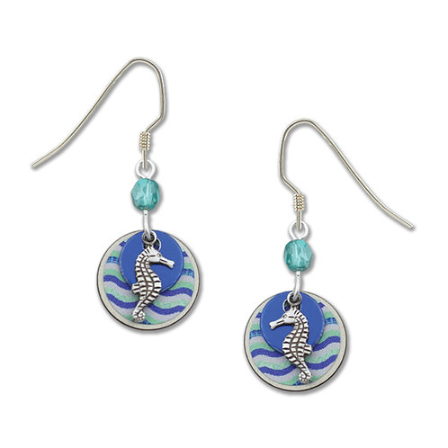 Seahorse charm w shades of blue waves
