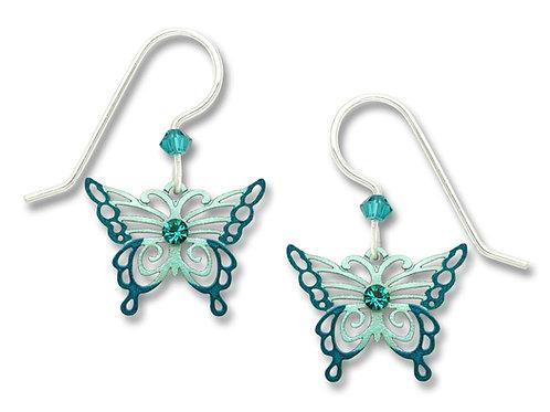 Aqua & Teal Filigree Butterfly w/ Crystal