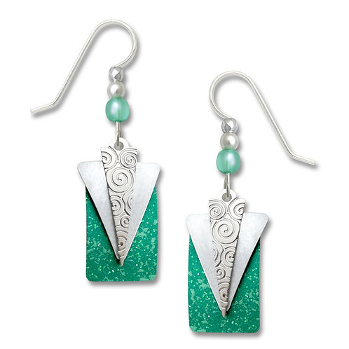 Silver & White Triangles Over Green Rectangle
