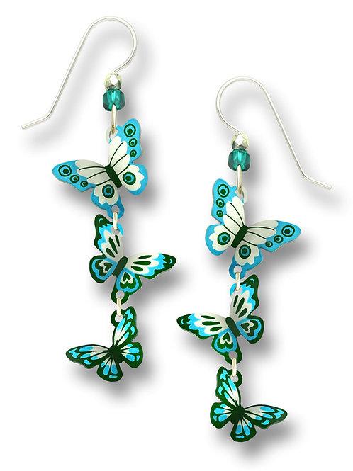 3-part 3-D Turquoise & teal butterflies