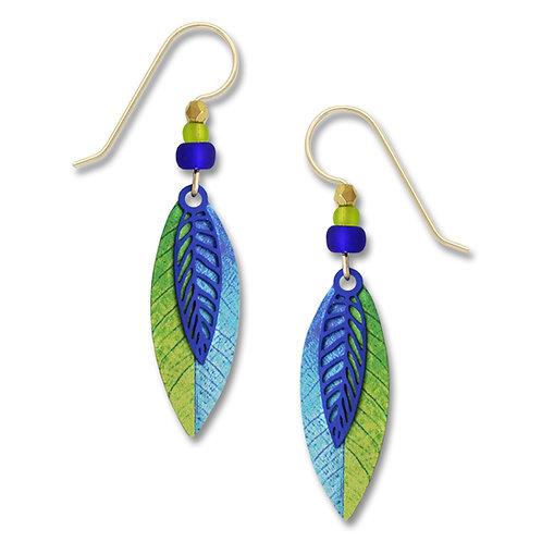 2-Part Colbolt Blue Leaf Shape Over Green/Blue Leaf