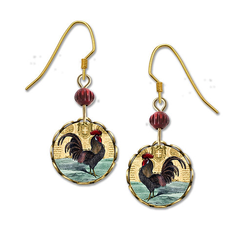 Rooster in Copper Round Lace Disc