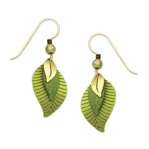 3 part green and brass leaves
