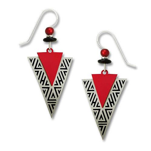 Red & brushed metal arrowheads w/black detail edging
