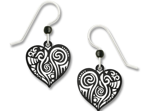 Black & white 'Maori' pattern heart