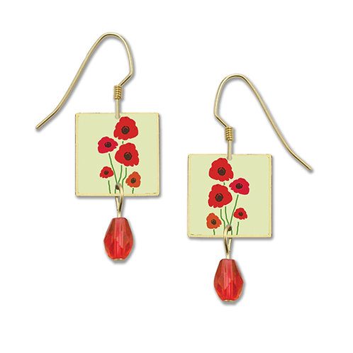 Red poppy square w red bead