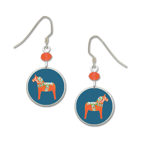 red dala horse on blue cir
