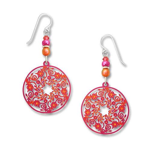 Sunburst orange & fuschia filigree flowered disc w/beads
