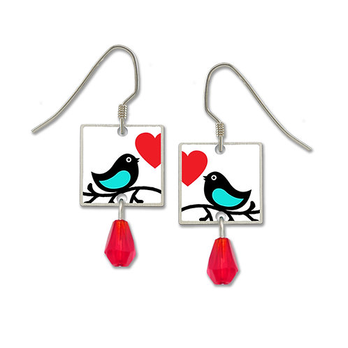 Blue Love Bird W/Red Heart UV Printed on Square