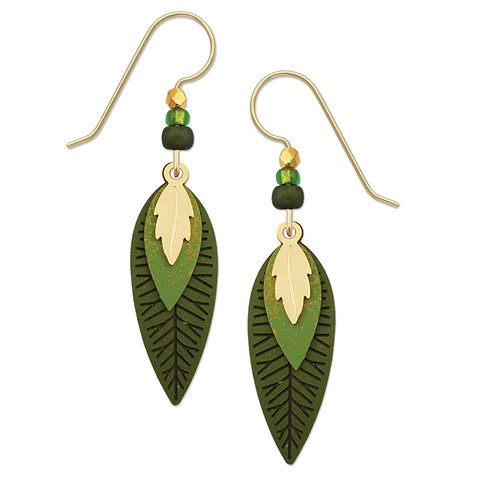 Three Part Leaf In Goldplate w/Spring & Olive Greens