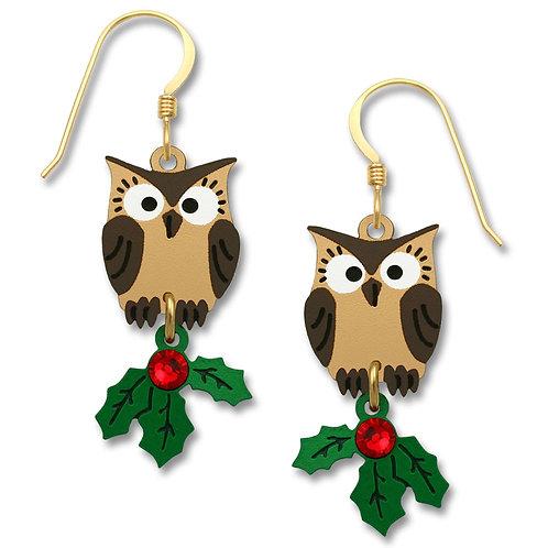 Owl w/Christmas Holly