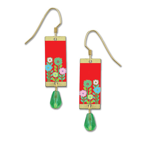 Red Multi Color Flowers Rectangle