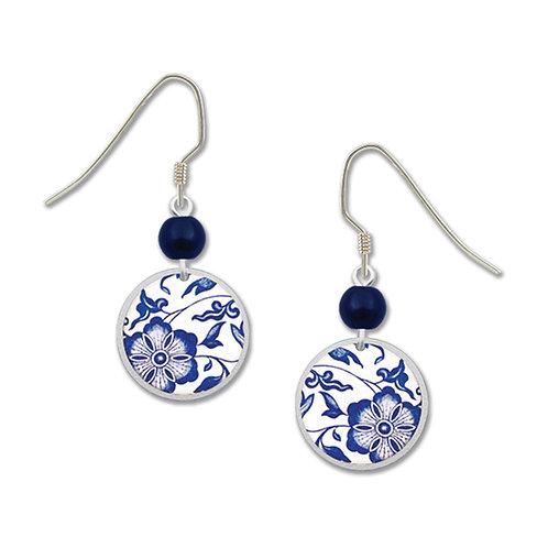 Round blue floral pattern
