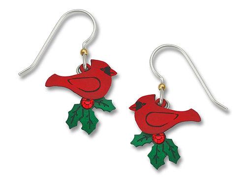 Cardinal w/Holly Earrings