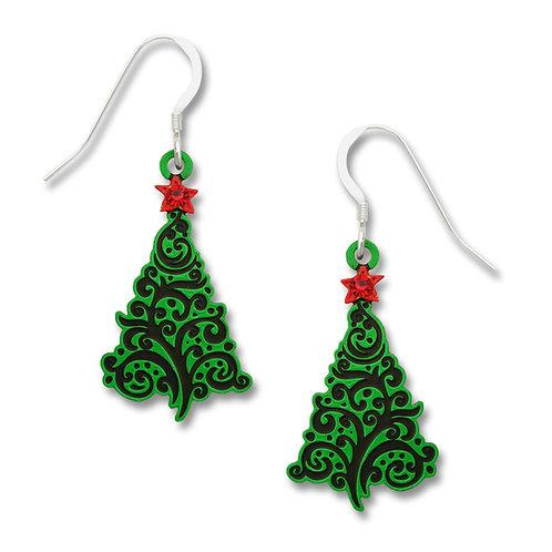 Christmas tree w/swirl design & red star
