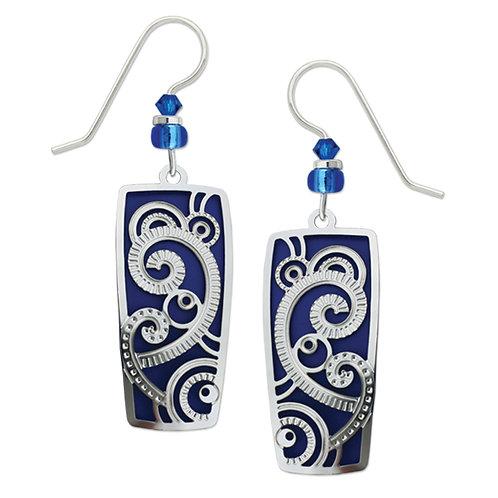 IR Art Deco Swirls Pattern Over True Blue