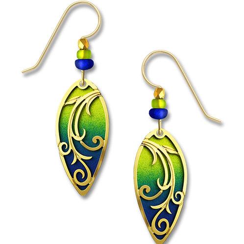Chartreuse to deep blue leaf shape w/GP 'tendrils'