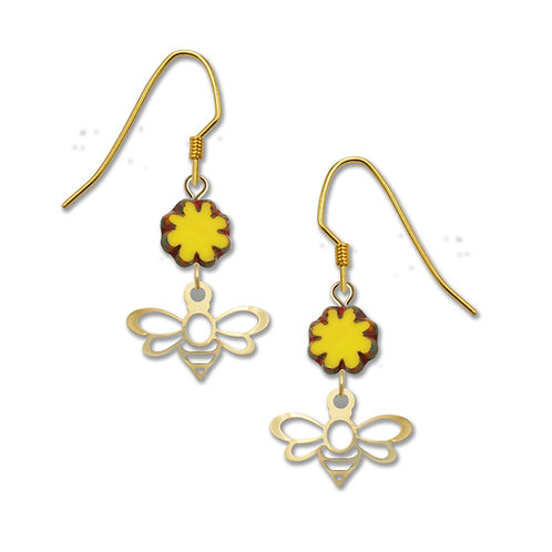 Gold Bee and Yellow Charm Drop