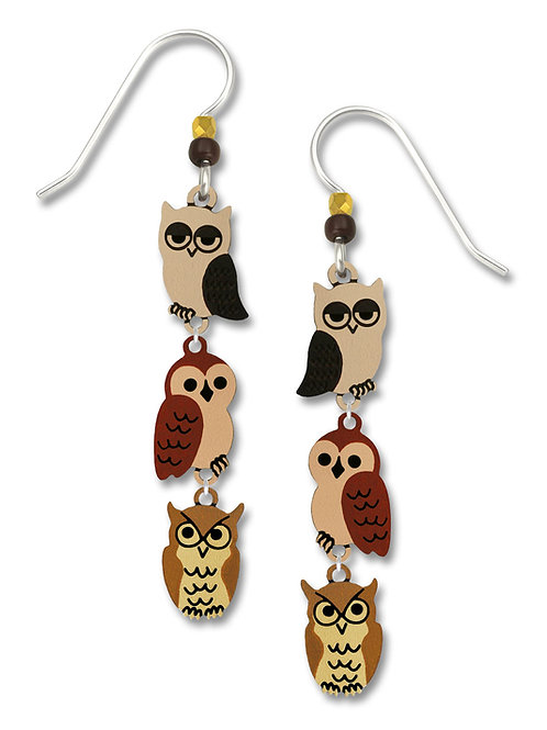 3-Part Earth-Tone Whimsical Owls