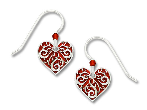 Red Heart w/Silver Filigree Overlay