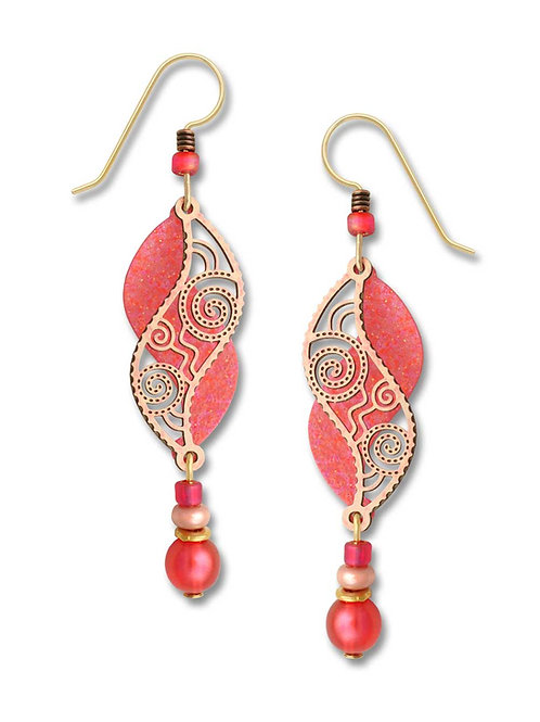 Coral & shimmering peach filigree double helix w/bead drop