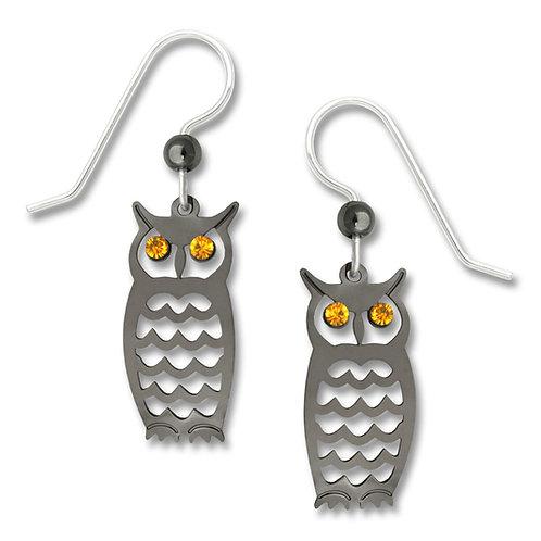 Hematite-look Owl w/ Topaz Crystal Eyes