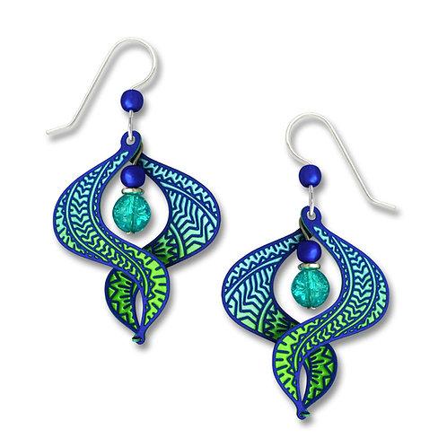 Wide ombre blue/aqua/green 'figure 8' w/center beads