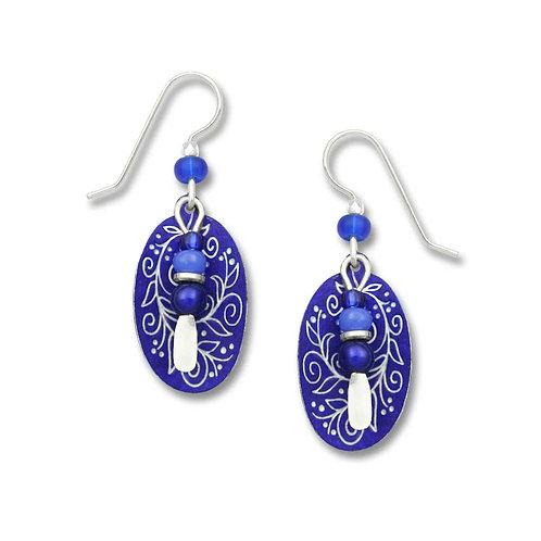 Royal blue & white 'berries & vines' oval w/bead drop