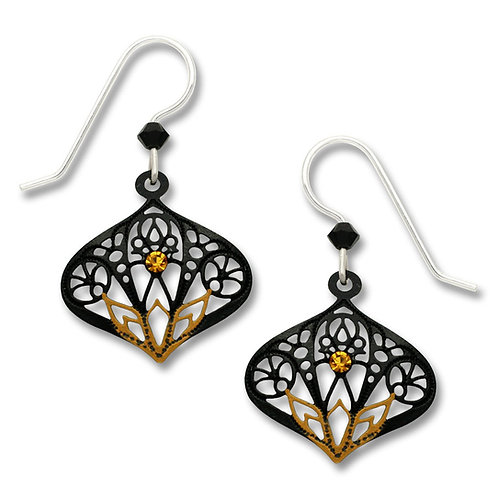 Black moroccan-style drop w/topaz 'lotus' & rhinestone