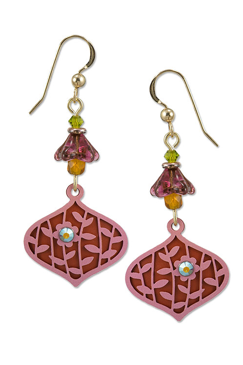 Deco Teardrop in Pinks with Leaves and Flower