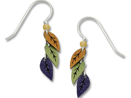 Triple Leaf earring, Gold, Green, Plum