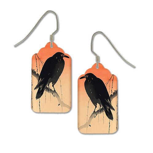 Black crow on pink tag