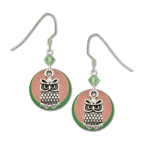 Small owl charm with green disk