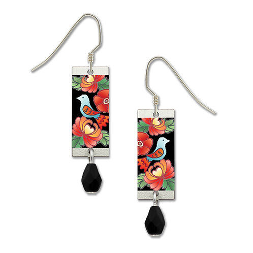 red flower rectangle silver