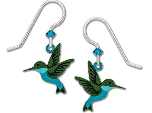 Hand-painted Western Emerald Hummingbird Earrings