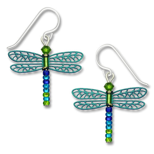 Teal/multi dragonfly w/beaded tail