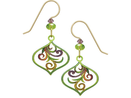 Teardrop with tendril in Green and Purple