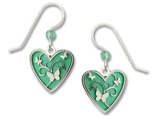 Aqua green heart with butterflies overlay