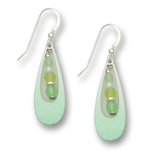Mint green open tear drop w/beads