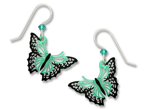 Aqua and black filigree butterfly